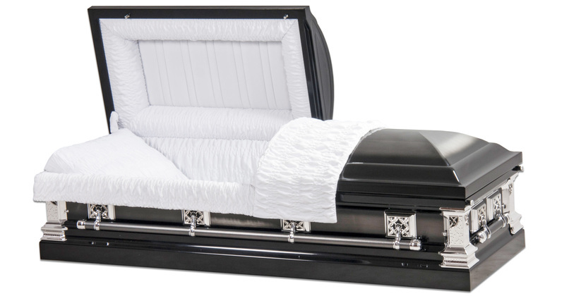 "<h4 class=""prodhead"">Jacksonville - Metal Casket</h4><body class=""prodbody"">White crepe Interior. Brushed Natural Shaded Ebony Finish. 18 Gauge Steel.</body>"